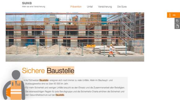 Screenshot der der Themenseite Sichere Baustelle