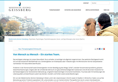 Homepage der Website mzg.ch