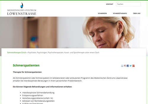 Homepage der Website schmerztherapie-zh.ch