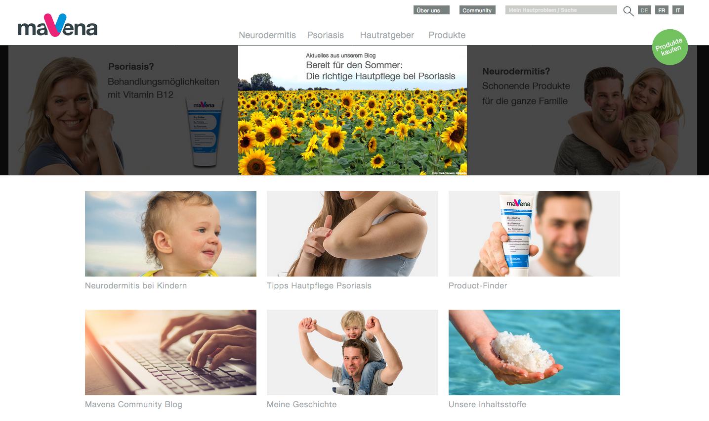 Bild zeit Startseite der neuen Webseite von Mavena