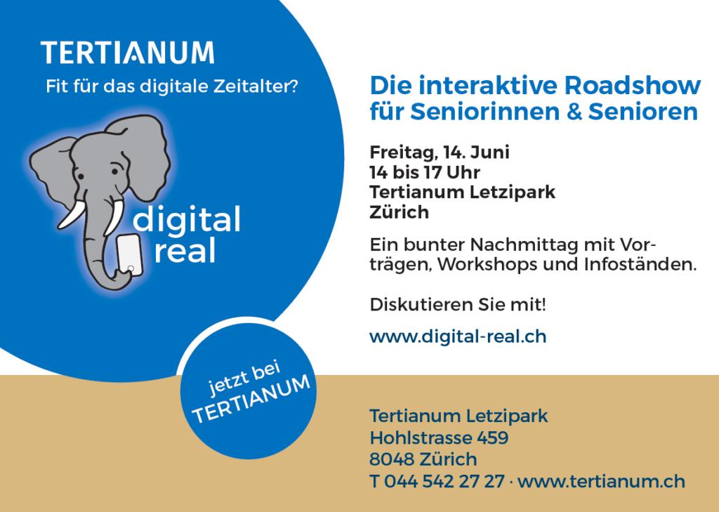Inserat zur nächsten Veranstaltung digital real am 14.Juni im Tertianum Letzipark
