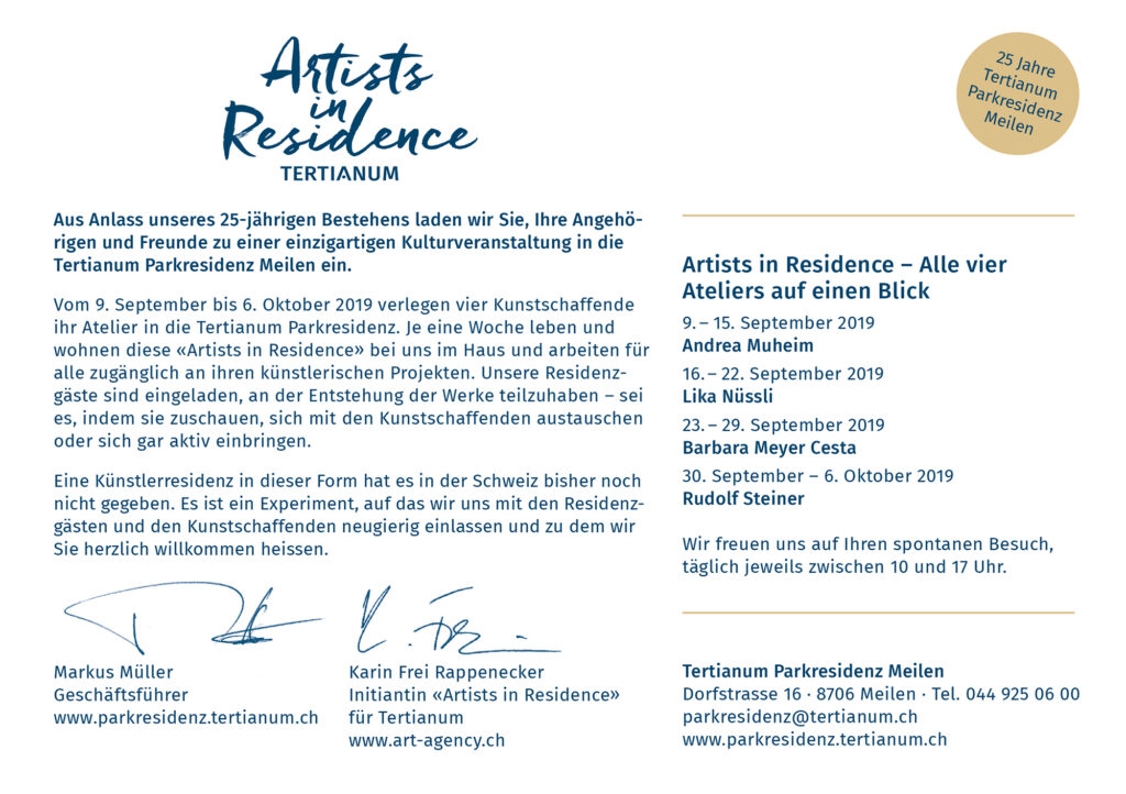 Einladung Artists in Residence